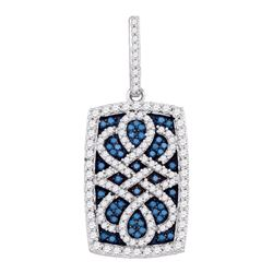 0.90 CTWBlue Color Diamond Rectangle Cluster Pendant 10KT White Gold - REF-49X5Y