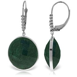 Genuine 46.15 ctw Green Sapphire Corundum & Diamond Earrings Jewelry 14KT White Gold - REF-78N3R