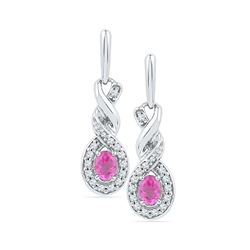 0.60 CTWOval Created Pink Sapphire Dangle Earrings 10KT White Gold - REF-22Y4X