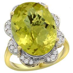 Natural 13.83 ctw lemon-quartz & Diamond Engagement Ring 14K Yellow Gold - REF-117Y6X
