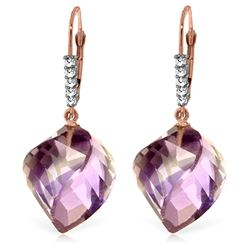 Genuine 21.65 ctw Amethyst & Diamond Earrings Jewelry 14KT Rose Gold - REF-57R6P