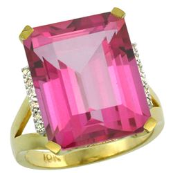 Natural 12.13 ctw Pink-topaz & Diamond Engagement Ring 10K Yellow Gold - REF-55M8H