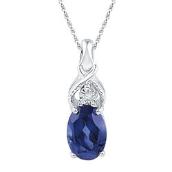 0.86 CTW Oval Created Blue Sapphire Solitaire Diamond Pendant 10KT White Gold - REF-6W2K