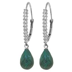Genuine 6.9 ctw Green Sapphire Corundum & Diamond Earrings Jewelry 14KT White Gold - REF-54W5Y
