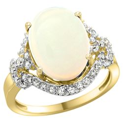 Natural 5.89 ctw opal & Diamond Engagement Ring 14K Yellow Gold - REF-90X7A