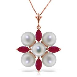 Genuine 6.3 ctw Ruby & Pearl Necklace Jewelry 14KT Rose Gold - REF-62M6T
