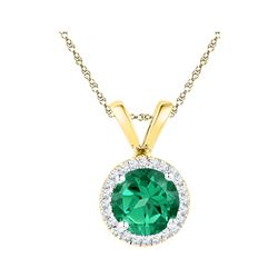 0.85 CTW Created Emerald Solitaire & Diamond Halo Pendant 10KT Yellow Gold - REF-10M5H
