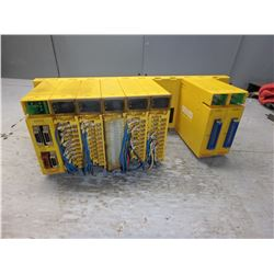 FANUC 10 SLOT RACK ABU10A A03B-0807-C001 W/ 8 MODULES **SEE PICS FOR MODULES**