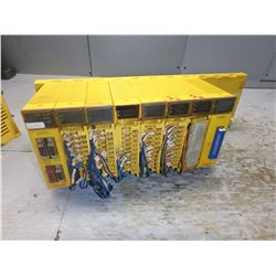 FANUC 10 SLOT RACK ABU10A A03B-0807-C001 W/ 9 MODULES **SEE PICS FOR MODULES**