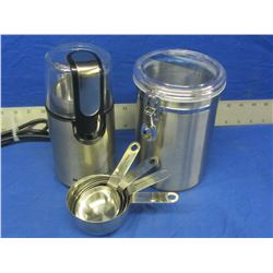 New coffee grinder / stainless steel canister / measureing cups