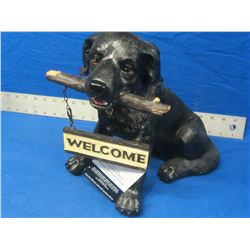 "large 12"" black lab welcome accent"