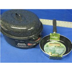"15lb Roaster / Paderno 8"" frying pan"