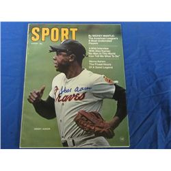 Hank Aaron Hand Signed Sport magazine Aug 1970 with C.O.A