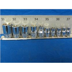 "Snap-On 10 piece  1/4"" & 3/8 drive sockets"