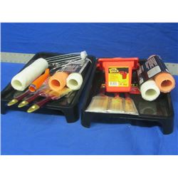 Large bundle of painting items / 2 sets brushes/ 5 rollers/ 2 trays/ can holster