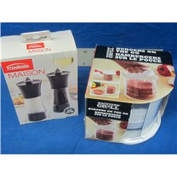 Burgers on the go and salt & pepper mills
