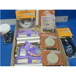 Large flat of hardware / bungee/ 1/8 wire cable/ furniture slides and more