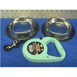 New 2 stainless steel non skid pet bowls & retractable leash 16ft