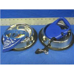 4 Dog items / 2 stainless non skid bowls/ bandana collar/ retractable leash