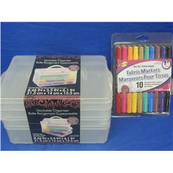 Stackable organizer & pack of 10 permanent fabric markers