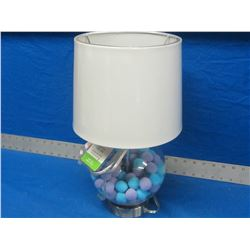 Pom Pom filled kids table lamp