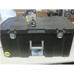 Black storage box / 2 latch & comes with Master Lock padlock