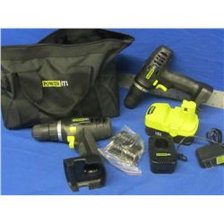 2 New Drills 18 volt / battery / charger / accessorie kit and carry bag