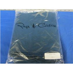 Rags + Couture open front shawl size large / teal