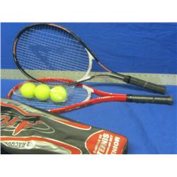 Set of 2 New Tennis Raquets with 3 balls and carry bag