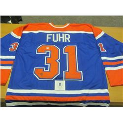 Hand Signed Grant Fur # 31 Oilers Jersy with Becket C.O.A