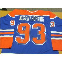 Hand Signed Ryan Nugent Hopkins # 93 Oilers Jersy with Becket C.O.A