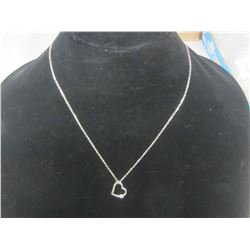 Sterling 925 chain with diamond heart pendant