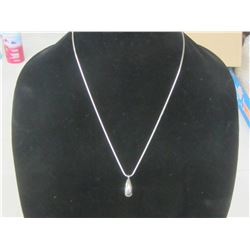 """22"""" stainless  chain with teardrop pendant"""