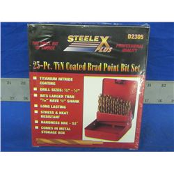 New 25 piece brad point wood drill bits in metal index case