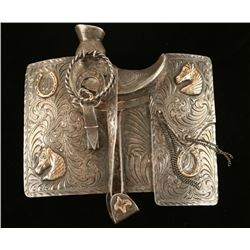 Magnificent Sterling Silver & 10K Gold Buckle