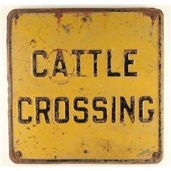 Vintage Metal Cattle Crossing Sign