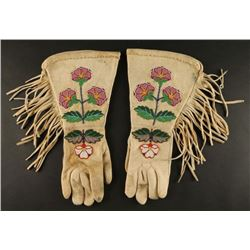 Vintage Rosebud Sioux Beaded Gauntlet Gloves