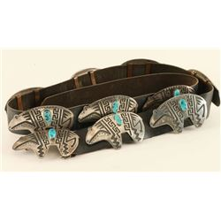 Sterling Silver & Turquoise Bear Concho Belt