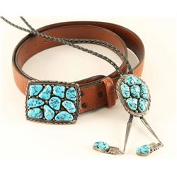 Matching Sterling Silver & Turquoise Buckle & Bolo