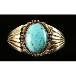Blue Turquoise Silver Gold Ladies Navajo Bracelet