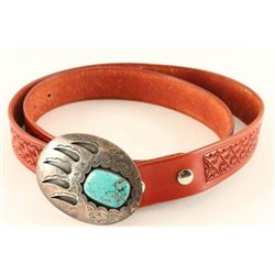 Sterling & Turquoise Bear Claw Design Buckle