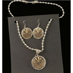 Gold Silver Man in the Maze Pendant & Earrings