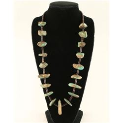 Old Turquoise Nugget Necklace with Penn Shell