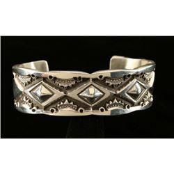 Big Boy Hammered Silver Mens Cuff