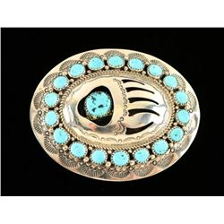 Turquoise & Sterling Bear Paw Buckle