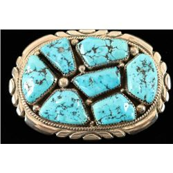 Turquoise & Sterling Belt Buckle