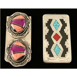 Lot of 2 Inlaid Sterling Silver Money Clips