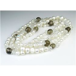 Stylish Freshwater Pearl & Smoky Topaz Necklace