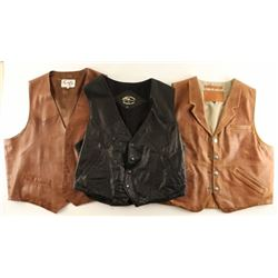 Lot of 3 Leather Vests