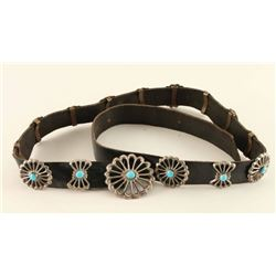 Sterling & Turquoise Sand Cast Concho Belt